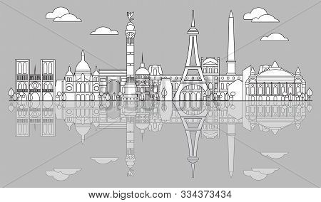 Panoramic Line Art Style Paris City Skyline With Reflection. Vector Illustration In Black Color Isol