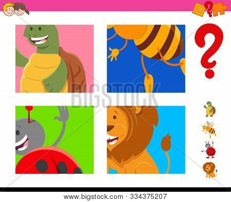Cartoon Illustration Of Educational Game Of Guessing Animals Species Characters For Children
