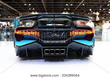 Dubai, Uae - November 16: The Bugatti Divo Sportscar Is On Dubai Motor Show 2019 On November 16, 201