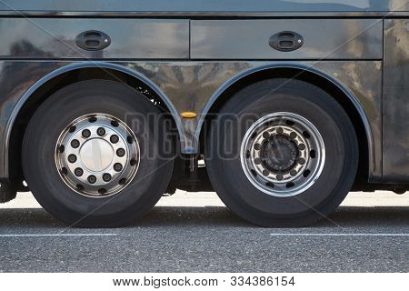 Bus wheels on the back axles of a long distance tour bus