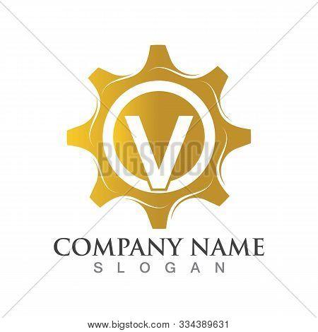 V Letter Logo Or Symbol Creative Gear Template