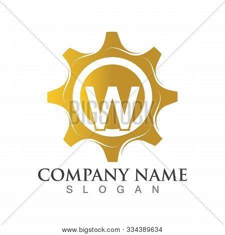 W Letter Logo Or Symbol Creative Gear Template
