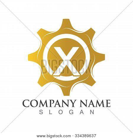 X Letter Logo Or Symbol Creative Gear Template