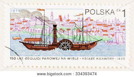 Seattle Washington- October 9, 2018: Poland Postage Stamp With Old Paddlewheel Boat On The Vistula R