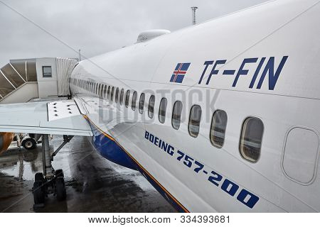 REYKJAVIK, ICELAND - MAY 08, 2018: Boeing 757-200 airliner of Icelandair. The 757 series of planes were manufactured until 2004, Icelandair has many of them in service.