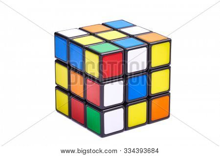 BUDAPEST, HUNGARY - SEPTEMBER 1, 2018: Unsolved Rubik's cube logic game on white studio background