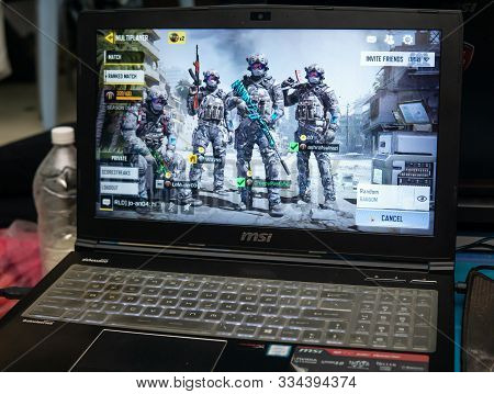 Bangi, Malaysia - October 13, 2019: Gaming Laptop Screen Display The Call Of Duty Mobile Game On Emu
