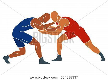 Freestyle Wrestling. Fight Blue And Red Athlete. Vector Shape Graphics