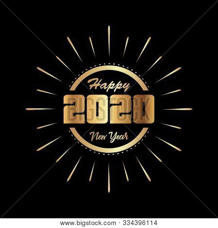 2020 Gold Text Isolated On Background, New Year 2020, 2020 Text For Calendar New Years, Happy New Ye
