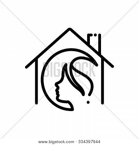 Black Line Icon For  Salon-at-home Salon Home Haircare Profession Maintenance Service