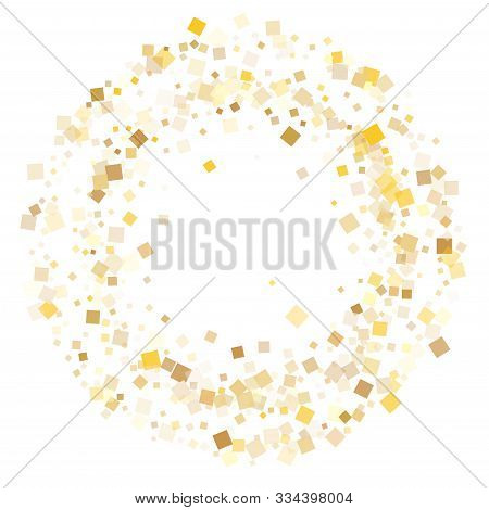 Glowing Gold Square Confetti Sparkles Flying On White. Glittering New Year Vector Sequins Background