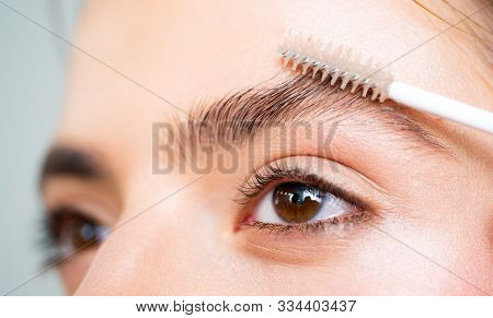 Eyebrows Close Up. Beautiful Girl Applies Brow Gel To Her Eyebrow. Close Up Portrait Of Young Caucas