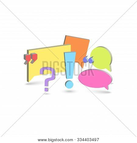 Chat Box Comments Background Forum Dialog Communication Symbols And Punctuation Marks 3d Isometric S