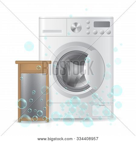 Realistic Automatic Closed Washing-machine And Wooden Ribbed Hand Washboard Isolated On White Backgr