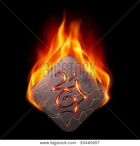 Burning rune stone