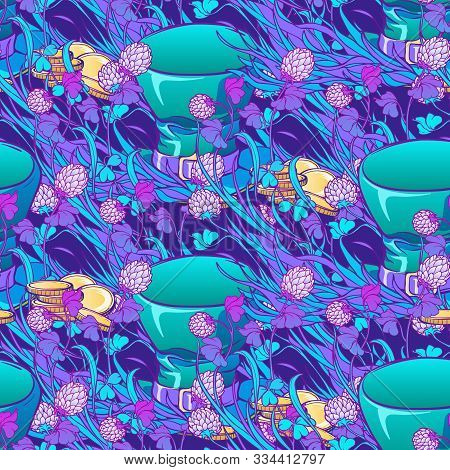 St. Patricks Day Festive Seamless Pattern. Unusual Psychodelic Turquoise Purple Gamma. Leprechauns T