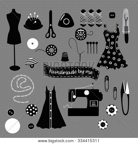 Set Of Black And White Vector Objects Of Sewing And Dressmaking Equipment, Tools For Card, Poster, F