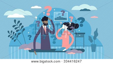 Thinking Couple Vector Illustration. Life Confusion In Flat Tiny Persons Concept Style. Question Mar