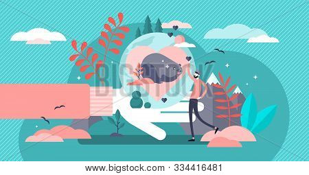 Save The Wildlife Vector Illustration. Flat Tiny Animal Care Person Concept. Ecological Extinction P