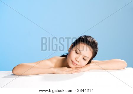 Relaxing Young Women Closing Her Eyes
