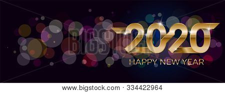 2020 Happy New Year. Banner Invitation, Party Poster Glittering Stars Confetti Glitter Decoration. W