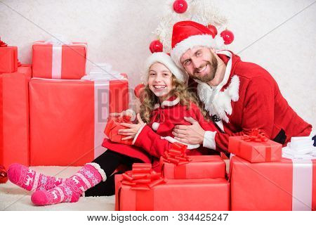 Idyllic Moments. Happy Childhood. Christmas Family Holiday. Father Christmas Concept. Family Christm