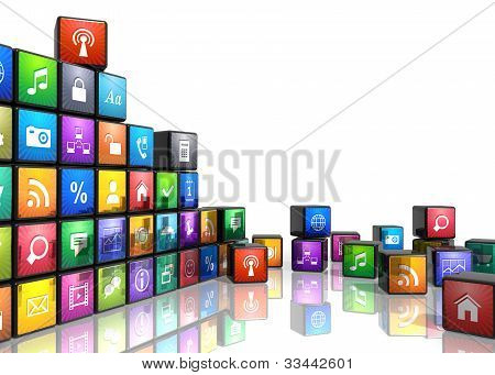 Mobile applications and media technologies concept: group of cubes with color app icons isolated on white background with reflection effect poster