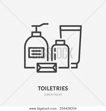 Toiletries, Cosmetic Flat Line Icon. Spa Hotel Service Vector Illustration. Thin Sign Of Soap Bottle