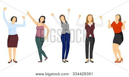 Successful Women, Confident Women. Business Lady, Business Woman. Successful People. Vector, Cartoon