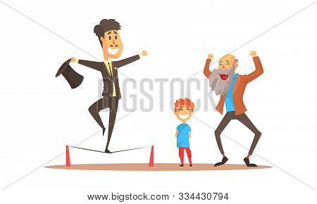 Young Man Balancing On Rope For Spectators Vector Illustration