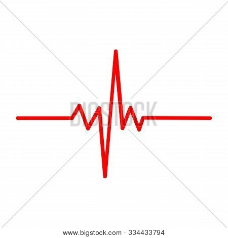 Solid Heart Rhythm Ekg Icon. Cardio Heartbeat Symbol. Vector Illustration.