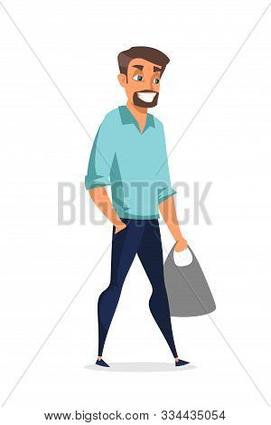 Young Handsome Man Flat Vector Illustration. Cheerful Guy Holding Package Cartoon Character. Smiling