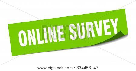 Online Survey Sticker. Online Survey Square Isolated Sign. Online Survey