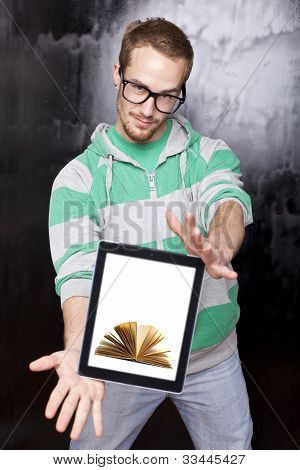 Smart Nerd Man With Tablet Computer - Digital Library