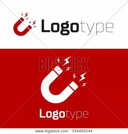 Red Magnet With Lightning Icon Isolated On White Background. Horseshoe Magnet, Magnetism, Magnetize,