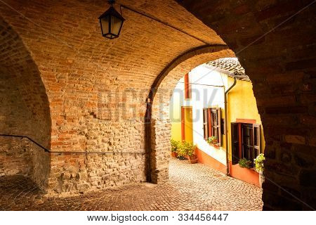 Famous Beautiful Barolo Village In Piemonte Zone, Langhe, Italy. Barolo Is The Name Of A Famous Red
