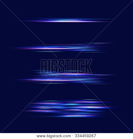 Motion Light Effect For Banners. Blue Lines. The Effect Of Speed On A Blue Background.  Red Lines Of