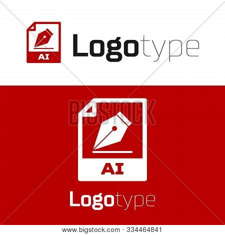 Red Ai File Document. Download Ai Button Icon Isolated On White Background. Ai File Symbol. Logo Des