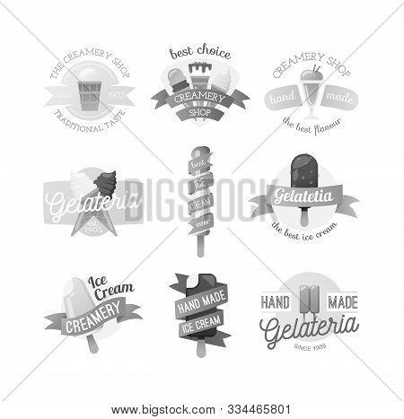 Icecream Badge Logo Food Sticky, Chocolate Cold Retro Dessert Vector Illustration. Icecream Badge Fr