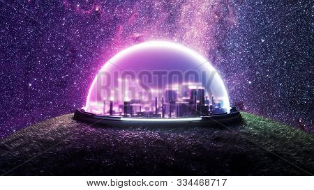 Isolated Encapsulated Futuristic City On Landscape With Vegetation On New Habitable Planet With Life