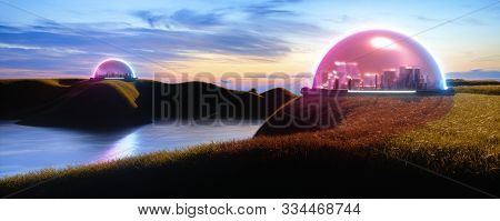 Illustration Of Abstract Encapsulated Futuristic Cities, On Earth Or On New Habitable Planet With Li