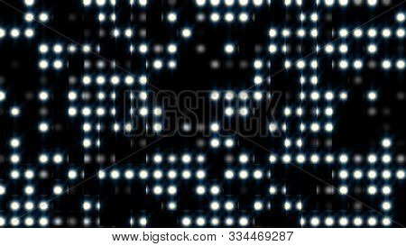 Light Effect Bright Round Dots, Computer Generated. 3d Rendering Of Background With Flashing Light.