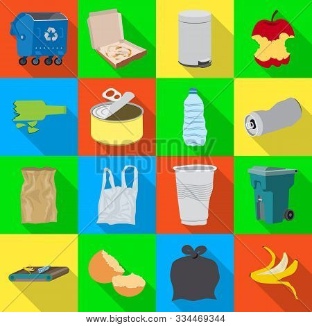 Vector Illustration Of Refuse And Junk Sign. Collection Of Refuse And Waste Vector Icon For Stock.