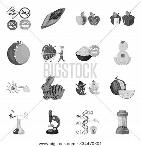 Isolated Object Of Transgenic And Organic Logo. Set Of Transgenic And Synthetic Stock Vector Illustr