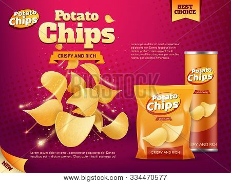 Potato Chips Advertising Of Snack Food Vector Design. Realistic Packages Of Crisps, Foil Bag And Pap