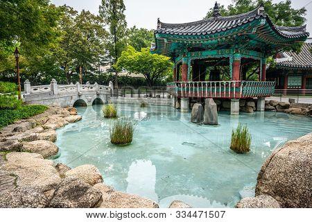 Pond And Pavilion View At Gyeongsanggamyeong Aka Central Park In Daegu South Korea