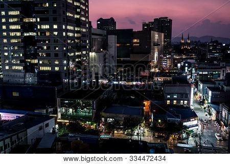 Daegu Korea , 30 September 2019 : Daegu City Nightscape With Church And Buildings In Daegu South Kor
