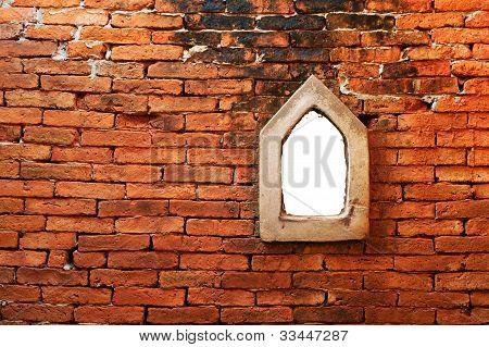 thai rick wall with a lighting box