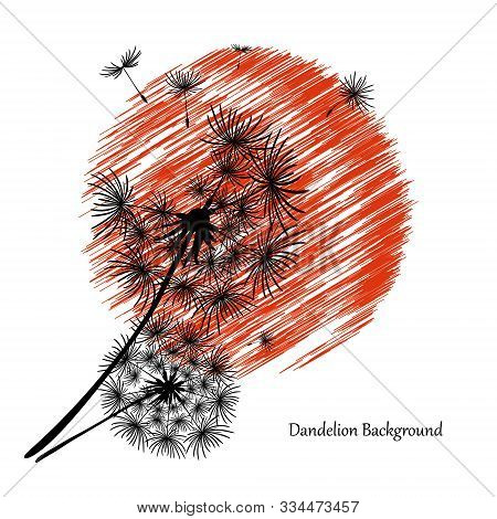 White Background With Two Dandelions And A Red Sun. Black Silhouette Of A Dandelion. Flower Seeds Fl