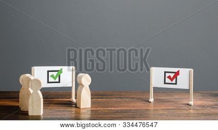 People Surrounded A Whiteboard With A Green Checkmark, Ignoring Red One. Right Collective Choice, Sm